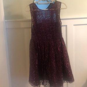 Purple sparkle and lace dress